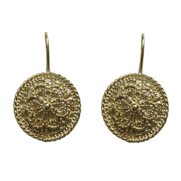 Vinatge Design Gold Patterned Earrings