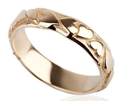 Vintage Style Wedding Gold Ring Side View