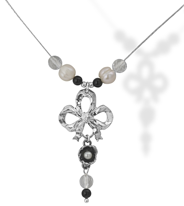 Vintage Onyx and Quartz Silver Necklace with a Pearl Pendant