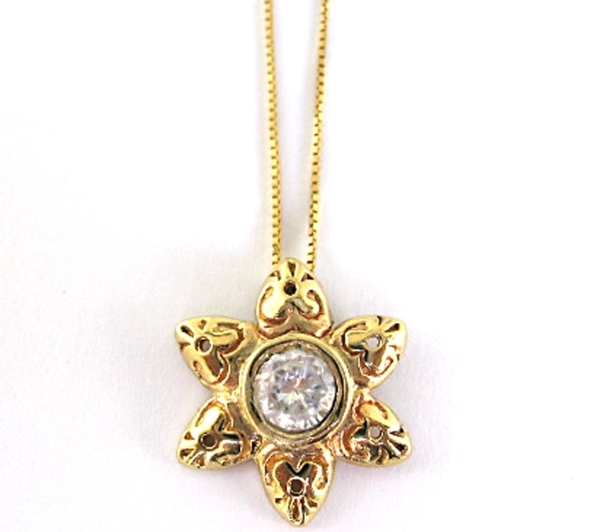 Gold Necklace with a Flower Shaped Ornament and Zircon Pendant