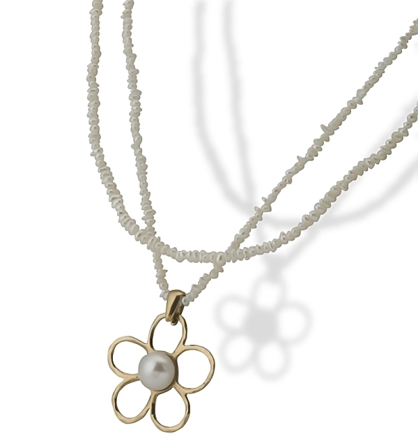 Vintage Style Gold Necklace, with a Gold Flower Shaped Pearl Pendant