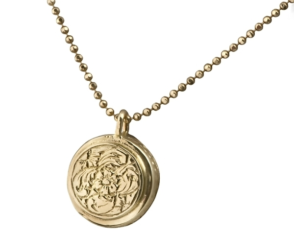 Antique Style Gold Necklace Featuring a Gold Ornamented Pendant