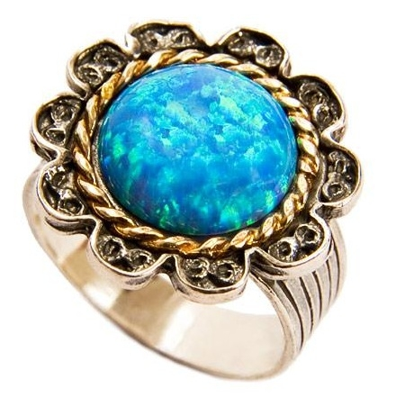 Silver&Gold Ring with a Bright Blue-Green Opal side view