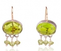 Vintage Styled Designer Gold and Silver Earrings with Green Peridots