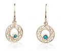 Gold Vintage Earrings with Opals