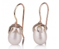 14k Gold and Silver Vintage Style Earrings with Pearl Side View
