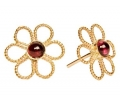 Vintage Designe Gold Earrings with Red Garnet Side Viwe