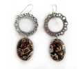 Vintage Sterling Silver Earrings with a Brown Jasper Gemstone