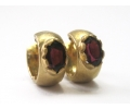 Vintage Yellow Gold Heart Earrings with a Red Garnet Gemstone