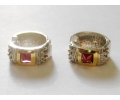 Gold and Silver Vintage Earrings with Zircon