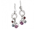 Silver Vintage Artistic Style Earrings with Amethyst, Pearl and Garnet Gemstones