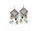 Silver Vintage Style Earrings with a Special Variety Gemstones