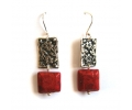 Sterling Silver Vintage Style Earrings with Lovely Royal Red Coral Gemstones