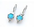 Silver Vintage Style Earrings with a Blue Opal Gemstone