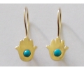 "Gold Vintage Style ""hamsa"" Shaped Earrings with a Turquoise Gemstone"