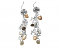Sterling Silver Vintage Style Earrings Featuring Small pendants of Jewish Symbols and Gemstones