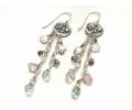 Silver Vintage Style Earrings Featuring Jewish Symbol pendants and Gemstones