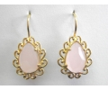 Vintage Style Earrings with Rose Quartz