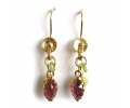 Vintage Design Gold Earrings with a Classic Red Garnet