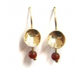 Vintage Design Gold Earrings with a Classic Red Carneol
