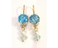 Gold Vintage Style Earrings Featuring a Blue Topaz, Pearl and Quartz Gemstones