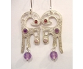 Vintage Design Silver Earrings Featuring a Variety of Gemstones