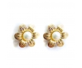 Classic Gold Earrings with a Floral Design Centered Around a White Pearl
