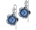Silver Vintage Style Flower shaped Earrings with a Blue Topaz Gemstone