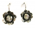 Silver Vintage Style Flower shaped Earrings with a Zircon Gemstone