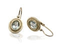 Vinatge Design Gold Earrings with a Classic Blue Topaz