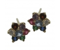 Vinatge Design Gold Diamond Earrings with a Lovely Mix of Gemstones