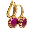 14k Gold Vintage Earrings with Amethyst Side View