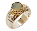 Gold & Silver Hammered Ring with Moonstone side view