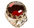 Gold & Silver Vintage Ring with a Red Zircon Ruby side view