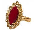 vintage 14k gold ring with pointed oval garnet  vertical view