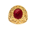 Antique Baroque style gold ring with garnet - front view
