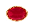 Gold Vintage Ring with a Pink Ruby front view