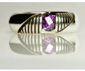 Vintage Style Silver Ring with Purple Amethyst - front view