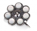 Silver Vintage Style Mother of Pearl Brooch front view