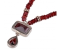 Silver Vintage Style Pendant Necklace with Garnet Gemstone