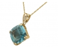 Vintage pendant with fluorite strung on gold necklace