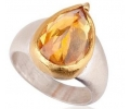 Vintage Style Gold and Silver Ring with Chalcedony Side View