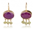Antique Style 14k Gold Earrings with Ruby Front View