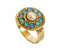 14k Vintage Ring with a Pearl and Opal Gemstones side view