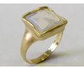 Vintage style yellow gold ring with a large center stone