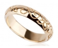 14k Gold Wedding Band with Carving