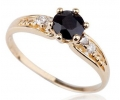 Antique Looking Gold and Black Diamond Ring Side View