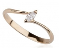 Vintage Style 14k Gold Ring with Diamond Side View