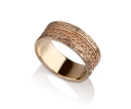 Bright Yellow Gold Vintage Style Wedding Ring Side View