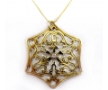 Classic Yellow Gold Necklace with a White Zircon Hexagon Pendant